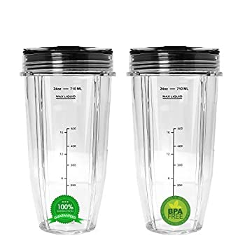 Blend Pro 24 oz Cup with Sip & Seal Lid Replacement Compatible with Nutri Ninja 24 oz Cups for Blender Bl450 BL454 Auto-iQ BL480 BL481  2-Pack