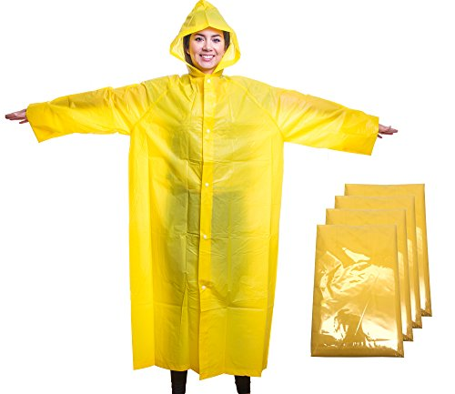 Emergency Reusable Rain Poncho with Hood, Sleeves and Button Closure - One Size Fits Most Outdoor Activities, Hiking, Camping, Travel, Hunting - 100% Waterproof (Yellow, 4 Pack)