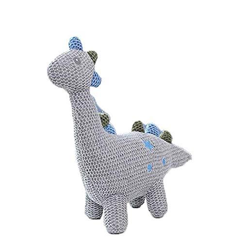 BriskyM Baumwolle gestricktes Plüschtier für Jungen und Mädchen - Bär, Kaninchen, Pony, Dinosaurier, Elefantenbaby - Bio-Hand gehäkelte Tierrassel (Dinosaurier, 22 * 11)
