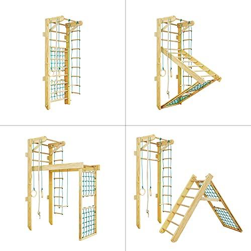 Kidsmont Kombi-Sprossenwand 5-in1 bis 150 KG Abnehmbarr Klappbar Klettergerüst Kletterwand Sport Gym für Kinder Matte Brettrutsche Blau Grau Türkis Grün Weiß Lila