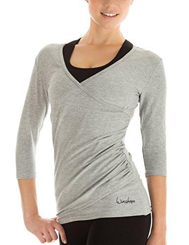 Winshape T-Shirt pour Femmes Manches 3/4 de Type Cache-cœur, pour la Pratique du Femme dans 3360lix Fitness, Yoga, Pilates, etc Loisirs Medium Gris
