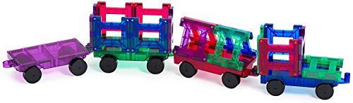 Playmags 155 Magnetischer Bausteine Bausatz Teilen und 1 Auto, 20-teiliges Zugset: Jetzt mit stärkeren Magneten, robust, super langlebig und mit lebendigen, klaren Farbkacheln, Multi