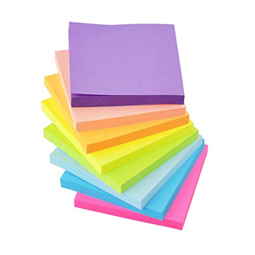 Sticky Notes 3x3 Inches,8 Bright Colors Self-Stick 8Pads, 80 Sheets/Pad