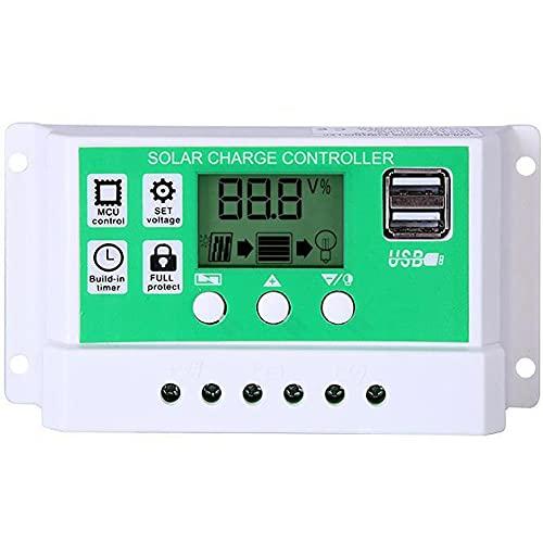 EastMetal Regulador de Carga Solar 12V / 24V, 10A Interruptor Automático del Controlador de Carga Solar PWM Universal, con Doble USB y Pantalla LCD Ajustable, para Paneles Solares, Batería, Camping