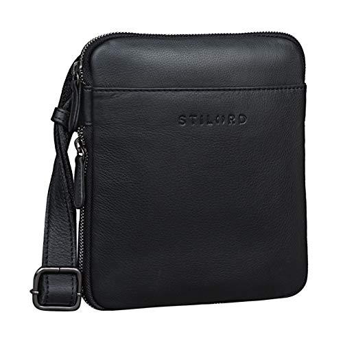 STILORD 'Carson' Borsa Uomo Piccola in Pelle Borsello Vintage Quadrato per Tablet Retrò con Tracolla Messenger bag, Colore:nero