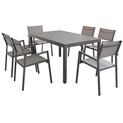 XONE Set Taupe in Alluminio 1 Tavolo Estensibile (150/210x90cm) + 6 sedie impilabili con braccioli | Top di Gamma