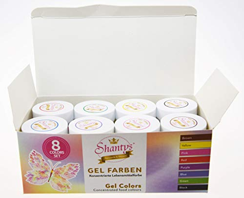 Shantys Gel Farben 8er Set, (brown, yellow, pink, red, purple, blue, green, black)