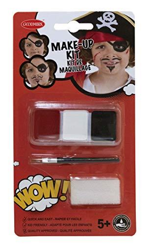 Goodmark 02070805 - Schminkset Pirat, Make-Up 3 x 2 g, in den Farben Weiß, Rot und Schwarz, Schwamm...