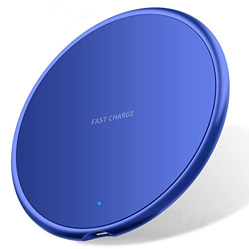 Nething Cargador inalámbrico de 10 W, cargador inalámbrico compatible con iPhone, Samsung, Huawei, Xiaomi, base de carga inalámbrica de 10 W, carga rápida rápida 3.0 (azul)