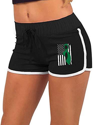 Longing-summer Alluringy - Pantalones cortos para mujer, diseño de bandera de hígado, para correr, bajo arroz
