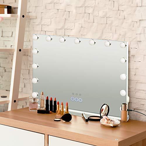YU YUSING Hollywood Schminkspiegel mit Beleuchtung Dimmbar Kosmetikspiegel Vanity Spiegel Tischspiegel Wandspiegel mit 10X Vergrößerung