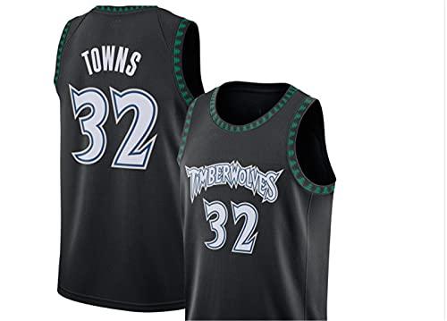 YXST Camiseta De Baloncesto NBA Timberwolves # 32 Malla Bordada De PoliéSter Top,Secado RáPido Y Transpirable para JóVenes Sudadera,Black,XS