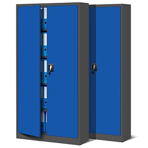 Jan Nowak 2er Set Aktenschrank C001 Metallschrank Stahlschrank Werkzeugschrank Büroschrank Lagerschrank Universalschrank Pulverbeschichtung Flügeltüren 185 cm x 90 cm x 40 cm (anthrazit/blau)