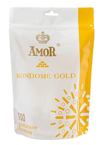 """AMOR \""""Gold\"""" 100er Pack goldfarbene Marken-kondome im attraktiven Standbodenbeutel, für pures Gefühl, hauchzart und feucht"""