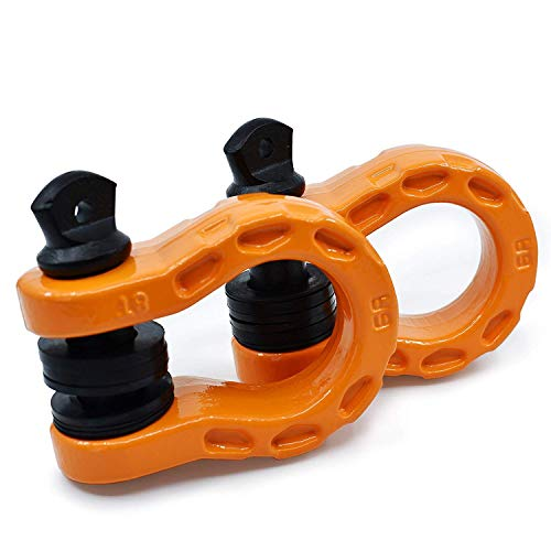 "GearAmerica Mega Shackles Orange (2PK) | 68,000 lbs Capacity - Stronger than 3/4"" D Rings 