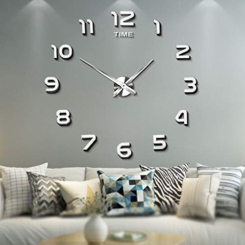 Mintime Frameless Large 3D DIY Wall Clock Mirror Stickers Home Office  School Decoration(2-Year Warranty) (Sliver-012)