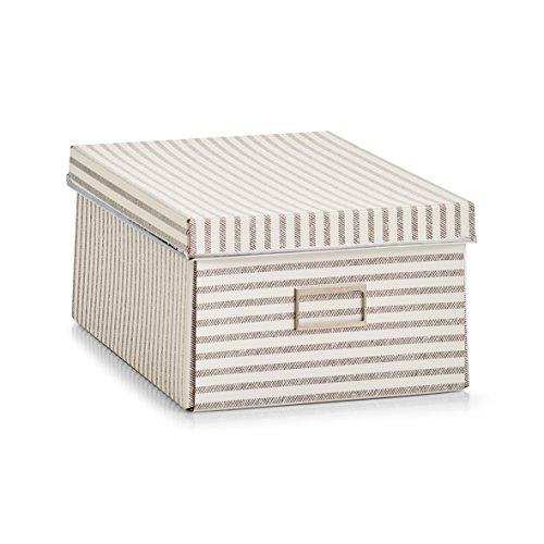 Zeller 14641 Stripes - Caja de almacenaje (cartón, 25 x 36 x 15 cm), diseño de rayas, color beige