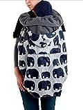 BundleBean - BabyWearing - Funda para todo tipo de portabebés - Con forro polar - Diseño de elefantes - Gris