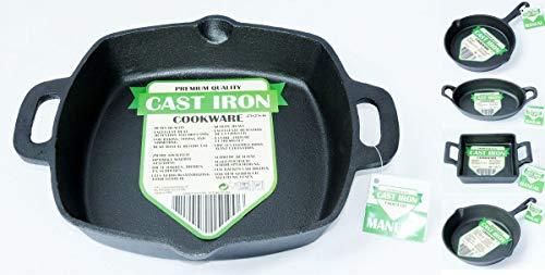 Cast Iron Bratpfanne Grillpfanne Gusseisen eckig 25x25cm