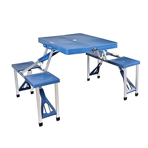 HJUIK Silla Mesa Plegable para Acampar Plástico Al Aire Libre Aleación Aluminio Mesa Picnic Mesa Ultraligera Y Duradera