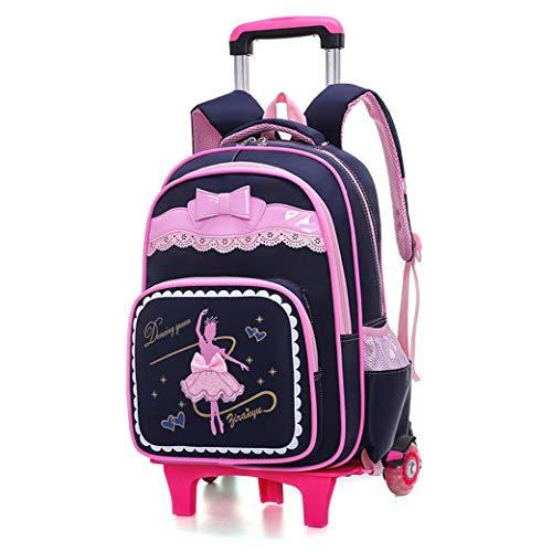 SHPEHP Kinder Trolley Rucksack, Kinder Rucksack Trolley Bag-Mädchen Jungen Schultasche Kinder Rucksack Rollrucksack mit sechs Rädern, Lila, 6 Rädern-blue-2wheel