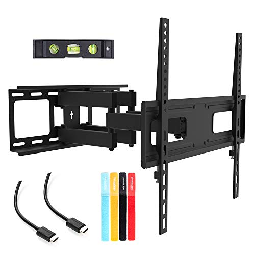 TV Wall Mount Bracket for 26-55 inch LED, LCD Curved / Flat Panel TVs up to VESA 400X400 and 88 Lbs - Full Adjustable Articulating TV Arm Fits 12' 16' Wall Wood Studs by PrimeCables (Heavy Duty, Sturdy, Slim, Universal Design)