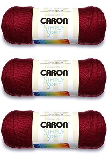 Caron CSS5604 Simply Soft-Pack of 3 Balls-170g Each Ball-Burgundy