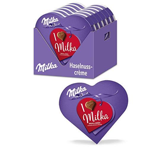 Milka I Love Milka Pralinen 12 x 44g, Geschenkverpackung mit Pralinen aus Nuss-Nougat-Crème umhüllt von Alpenmilch Schokolade