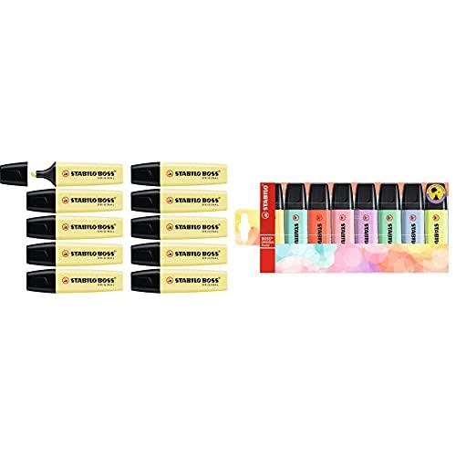 STABILO Marcador ORIGINAL pastel Caja con 10 unidades Color amarillo cremoso + Marcador ORIGINAL Pastel Estuche con 8 colores pastel