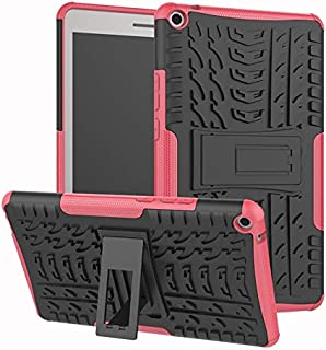 YHUISEN Hyun Pattern Dual Layer Hybrid Armor Kickstand 2 in 1 Shockproof Cover for Huawei MediaPad T3 8.0 inch 2017 Release (Color : Pink)