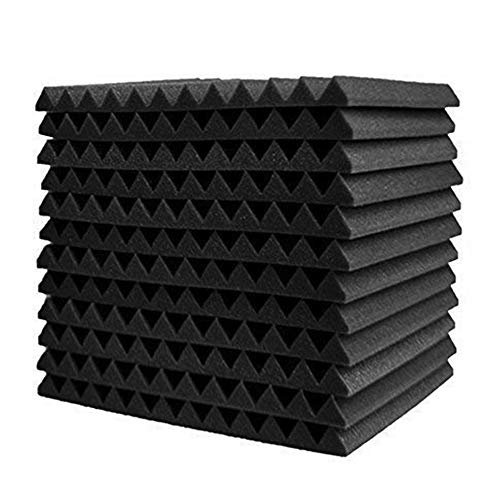 Chnrong 12 Pack Acoustic Foam Panels 30x30x2.5cm Soundproofing Studio Foam Wedge Tiles Fireproof for Home & Studio Sound Insulation Black High-density