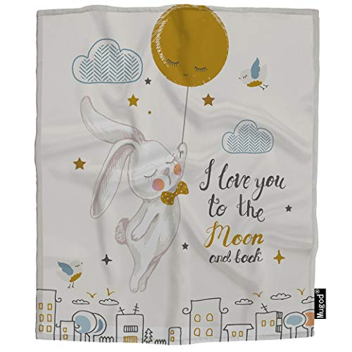 Mugod Rabbit Throw Blanket I Love You to The Moon and Back Cute Bunny Flying to The Moon Soft Cozy Fuzzy Warm Flannel Blankets Decorative for Baby Toddler Swaddle Dog Cat 30X40 Inch