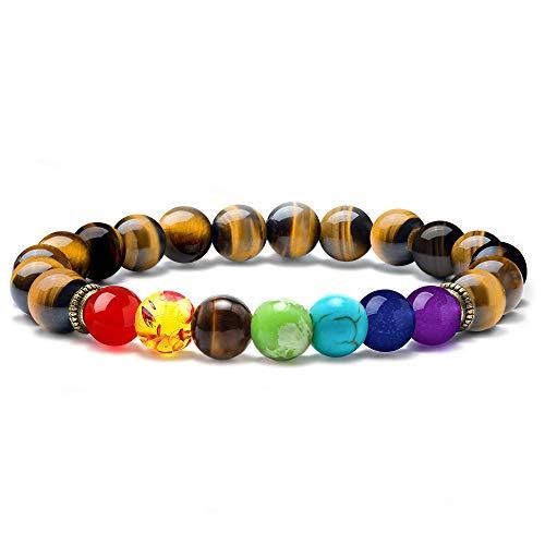 MONOZO Chakra Beads Bracelet - 7 Chakra 8mm Natural Tiger Eye Stone...