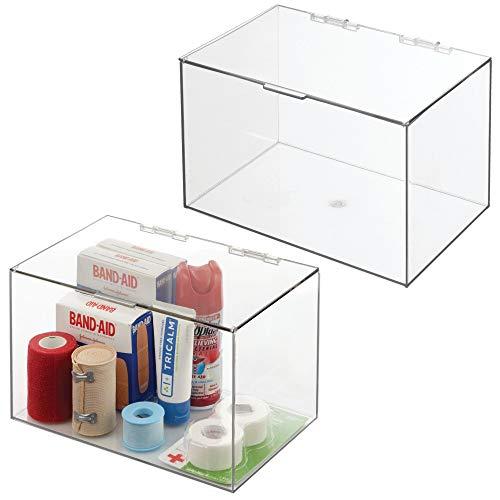 mDesign Organizador de maquillaje – Práctica caja organizadora de plástico con tapa abatible – Organizador de baño apilable para guardar cosméticos y maquillaje – Juego de 2 – transparente