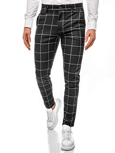 OZONEE Herren Chino Hose Chinos Stoffhose Chinohose Anzughose Anzug Herrenhose Röhrenhose Pants Elegant Business Slim Fit Regular Klassisch Classic Basic 777/5087S SCHWARZ W34