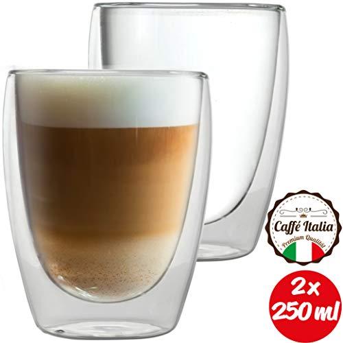 Caffé Italia Torino 2 x 250 ml Doppelwandige Gläser - Thermogläser für Cappuccino Tee Heiß- und Kaltgetränke - spülmaschinengeeignet