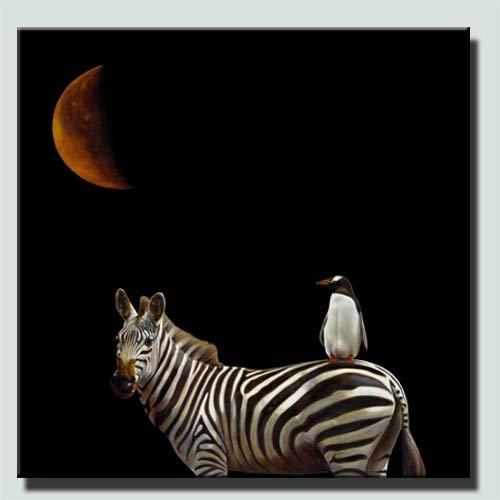 Geiqianjiumai Panda bedrukt zebraafbeelding op de achterkant van het frameloze schilderij van de plakfolie voor kinderbabyruimtewand-interieurgeschenk.