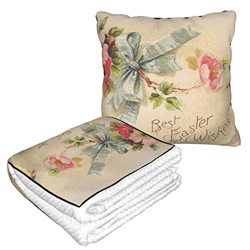 MGVDSES Best Easter Wishes Printing Pillow Blanket, Cozy-Soft Flannel Travel Blanket, 50 X 59.8 Inch