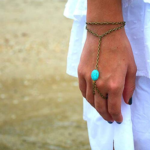 Yean Boho - Pulseras de esclavo de color turquesa, color marrón, arnés, anillos para dedos, cadena para playa para mujeres y niñas