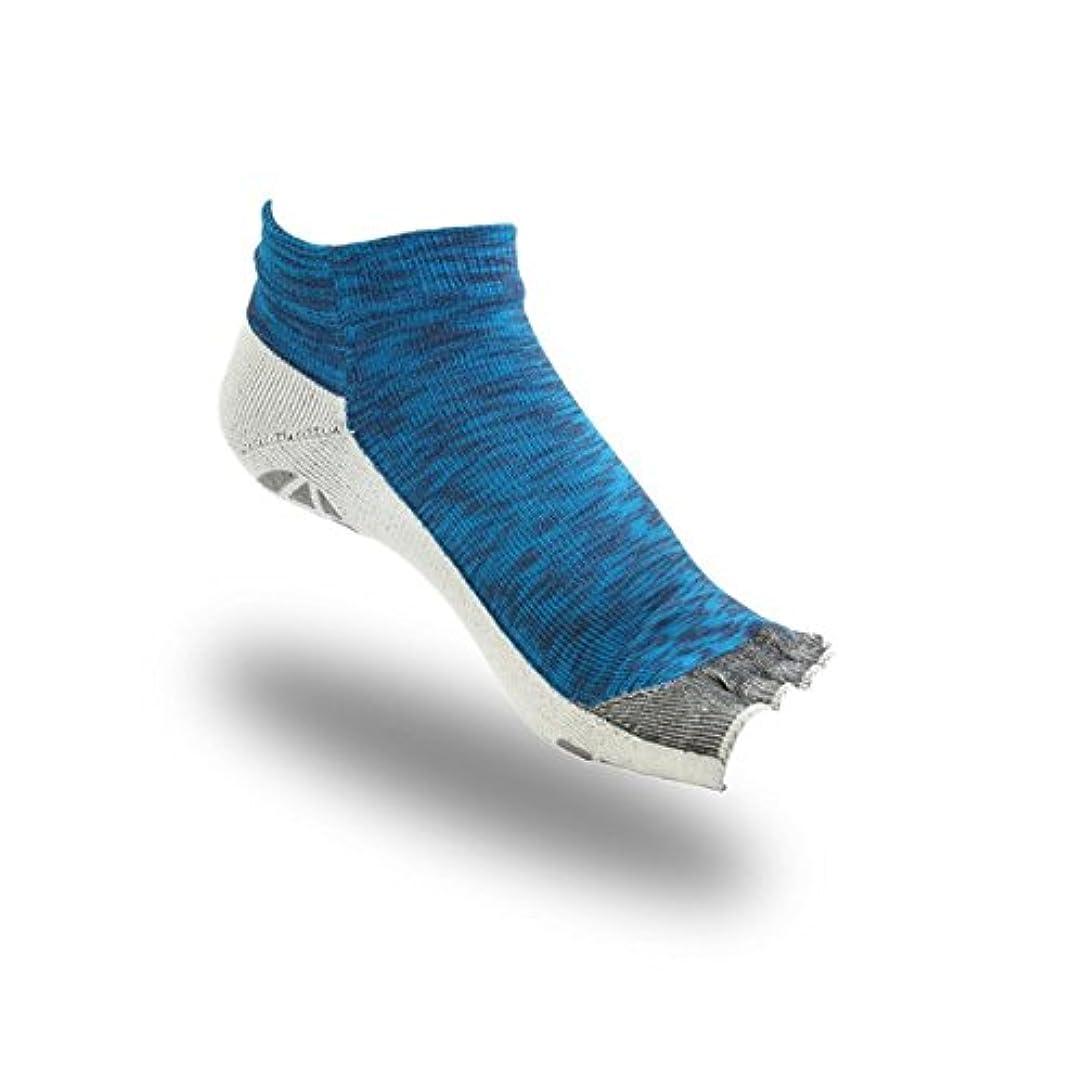 ダンプリラックスそよ風OLENO はだし靴下 ロード?オープンフィンガー (ブルーMIX 23cm-25cm)