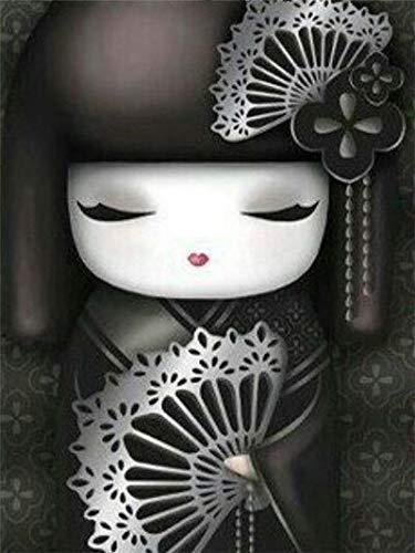 Pintura de diamante de taladro completo'Chica kimono de dibujos animados' imagen de bricolaje de diamantes de imitación 5D bordado de diamantes decoración de punto de cruz A2 40x50cm