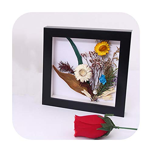 Frames Creative Shadow Box For Handmade Diy Flowers,Art Crafts,Pins, Medals,Tickets Dispaly,3D Photo Frame,Mounted Wall Decorative-Black-Inner Size 20X25Cm