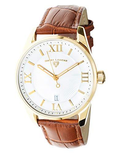 Swiss Legend Belleza 22012-YG-02-BR - Reloj analógico de cuarzo suizo para hombre, esfera blanca y caja de acero inoxidable dorada con correa de piel marrón