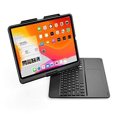 QWERTY - Custodia a libro per iPad Pro 12.9 (2020) con tastiera Bluetooth, retroilluminata e touchpad con rotazione a 360°, colore: Nero
