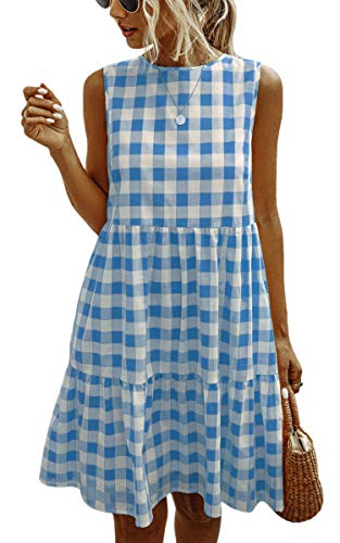 Spec4Y Vestidos de mujer de verano a cuadros sin mangas casual una línea suelta camiseta mini vestido con bolsillos