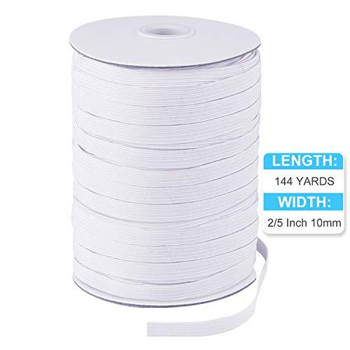KUUQA Bandas Elásticas de Costura de 2/5 Pulgadas Rollo de Cuerda de Correa Elástica Trenzada de Bricolaje Blanca Plana para hacer Manualidades de Costura, 144 yardas de longitud 10 mm de ancho