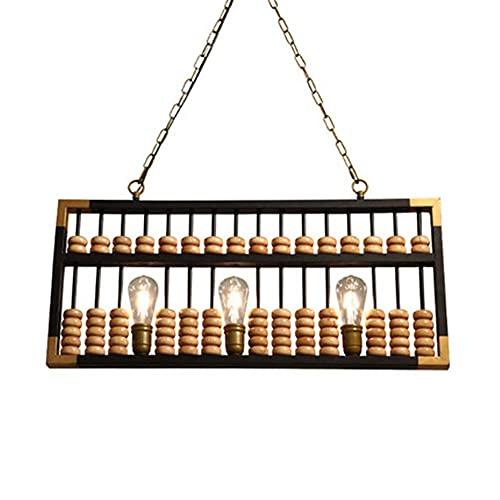 QLIGAH Lámpara Colgante Decorativa de Hierro de Estilo Industrial Abacus Lámpara Colgante de Madera Maciza Luz Colgante de Techo E27 * 3 Altura Ajustable Push