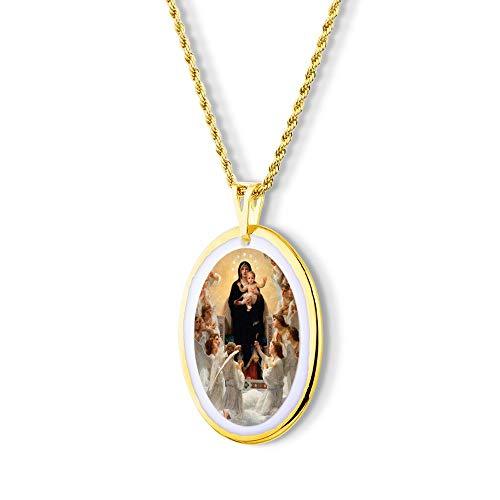 Pingente Medalha Nossa Senhora Augusta Rainha dos Céus Anjos ouro