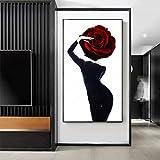QAZEDC Pintura Decorativa Busty Beauty Painting Black Dress Hot Girl Poster Print Big Wall Art for Living Room Entrada Grande Imagen-70x100cm