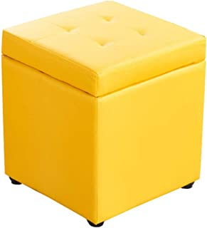 footstools ottomans Cube Faux Leather storage Foot stool Pouf Bench Seat,toy Box With Hinge Top Organizer Box Pouf Chest-b...